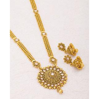 22abd59575c2 Buy Voylla Sanskriti Gold Plated Floral Long Necklace Set For Women ...