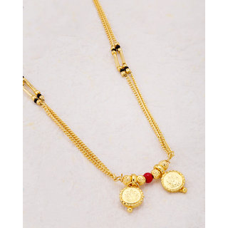 Voylla Sanskriti Gold Plated Goddess Laxmi Two Wati Mangalsutra Necklace For Women