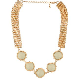 Voylla Diva Gold Gloss Beaded Statement Necklace For Women