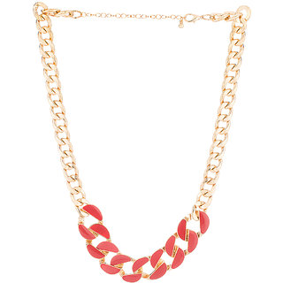 Voylla Exuberant Red Enamel Link Statement Necklace For Women