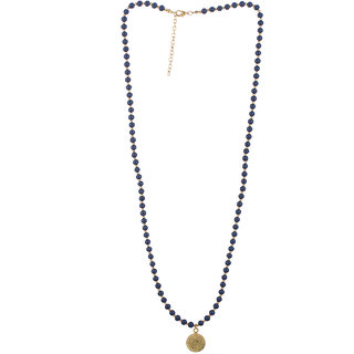Voylla Blue Beads Studded Gold Toned Necklace For Women