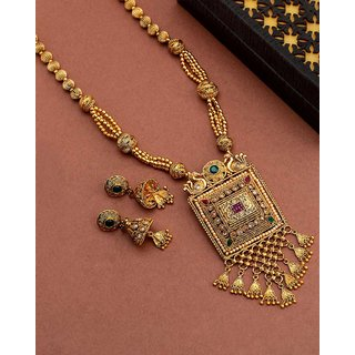 Voylla Golden Reprise Antique Inspired Necklace Set For Women