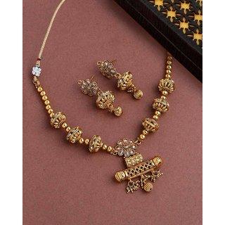 Voylla Golden Reprise Antique Inspired Necklace Set For Women