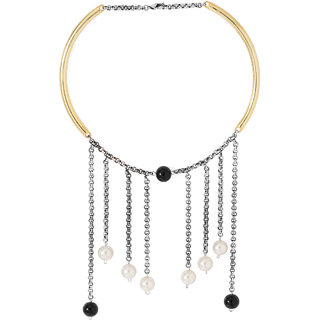 Voylla Stylish Necklace Adorned With Black And White Beads For Women