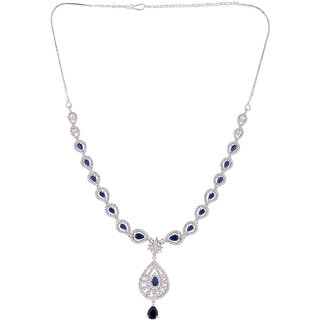 Voylla CZ Silver Plated Marquise Necklace Set For Women