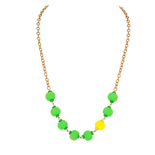 Voylla Necklace with textured contrasting yellow; green beads For Women