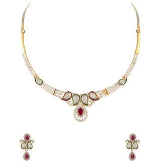 Voylla Gold Plated Necklace Set CZ Encrusted With Modern Classic Theme For Women