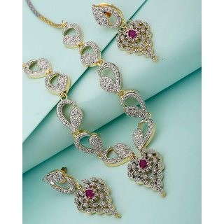 Voylla Necklace Set Adorned With Glittering CZ Stones For Women