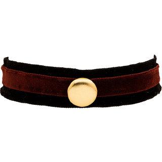 Voylla Black & Maroon Velvet Choker Necklace For Women