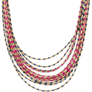 Voylla layered beaded necklace in gold tone finish  For Women