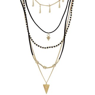 Voylla Fascinating Multi-Layered Necklace Adorned With Black And Golden Beads For Women