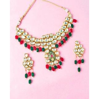 Voylla Sparkle Ecstasy Dangling Stones Necklace Set For Women