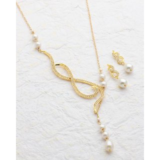 Voylla Baroque Pearl Twisted Necklace Set For Women