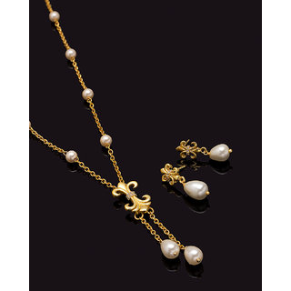 Voylla Baroque Pearl French Lily Motif Necklace Set For Women