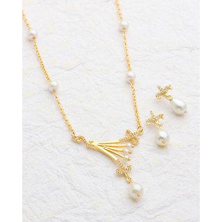 Voylla Baroque Pearl Classy Necklace Set  For Women