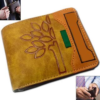 Pure Leather Brown Stylish Bi-fold Wallet Credit Card Holder Coin Holder Money Bag Purse Ultra Slim Size for Men Boys