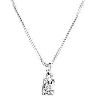 33123984d3301 Buy Voylla  E  Alphabet Pendant Embellished With CZ Sparkles in Silver  Toned For Women Online - Get 41% Off
