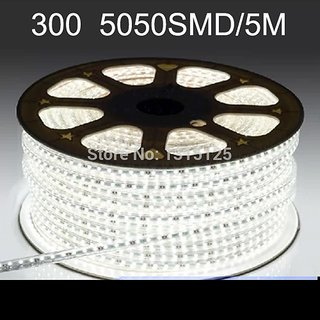 Waterproof SMD 5050 LED Strip 220V 60leds/m  Tape Rope Light 45 Meters Cool White
