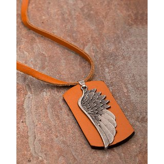 Dare by Voylla Feather Design Oxidized Plated Pendant With Leather Chain  For Men