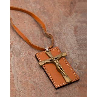 Dare by Voylla Jesus Christ Pendant With Leather Chain  For Men