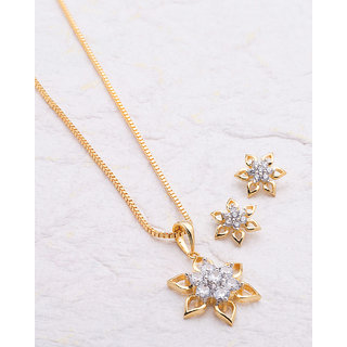 Voylla Attractive Floral Pendant Set Studded with CZ For Women