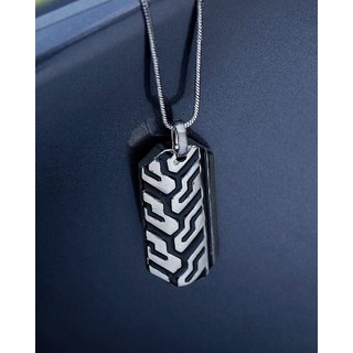 Dare by Voylla Black Enamel Pendant With Chain  From  For Men