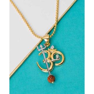 Dare by Voylla OM Design Rudraksha Studded Pendant With Chain  For Men