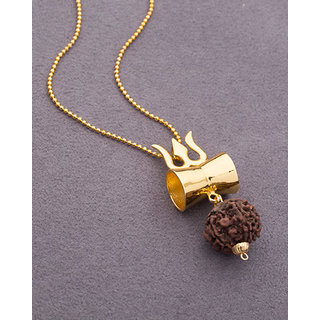c05bf18f2c4f0 Dare by Voylla Gold Tone Pendant Studded With Rudraksha For Men