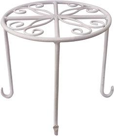 Matelco White Garden Flower Pot Stand (Pack Of 1)