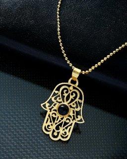 Dare by Voylla Hamsa Hand Designer Pendant With Chain For Men