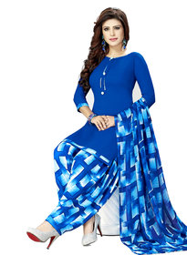 Women Shoppee's Multicolor Printed Crepe Salwar Suit Dupatta - Unstiched Dress Material
