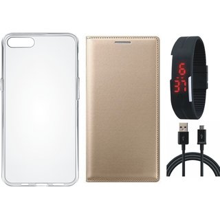 Oppo F7 Leather Flip Cover with Silicon Back Cover, Digital Watch and USB Cable (Gold ) by Vivacious