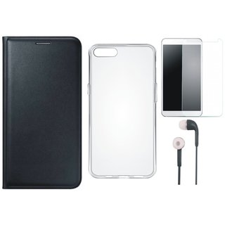 Redmi Note 5 Leather Flip Cover with Silicon Back Cover, Tempered Glass and Earphones (Black) by Vivacious