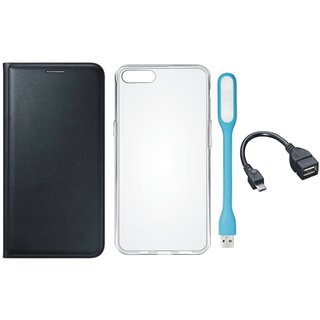 Redmi Note 5 Leather Flip Cover with Silicon Back Cover, USB LED Light and OTG Cable (Black) by Vivacious