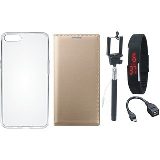 Oppo F7 Leather Flip Cover with Silicon Back Cover, Selfie Stick, Digtal Watch and OTG Cable (Gold ) by Vivacious