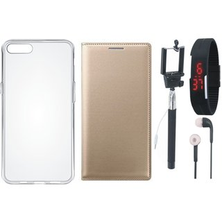 Oppo F7 Leather Flip Cover with Silicon Back Cover, Selfie Stick, Digtal Watch and Earphones (Gold ) by Vivacious