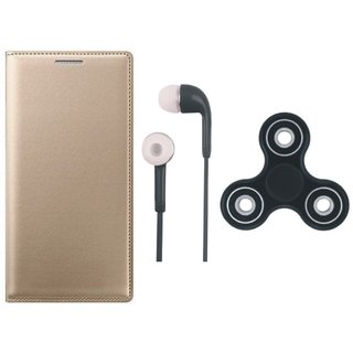 Oppo F7 Premium Leather Cover with Earphones and Spinner by Vivacious ( Gold )