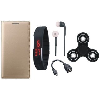 Oppo F7 Stylish Leather Cover with Spinner, Digital Watch, Earphones and OTG Cable by Vivacious ( Gold )