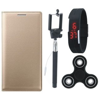 Oppo F7 Stylish Leather Cover with Spinner, Selfie Stick and Digtal Watch by Vivacious ( Gold )