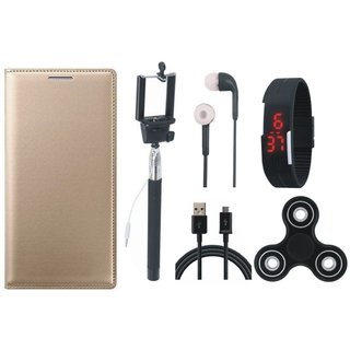 Redmi Note 5 Flip Cover with Spinner, Selfie Stick, Digtal Watch, Earphones and USB Cable by Vivacious ( Gold )