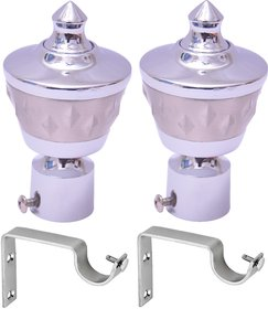 Easyhome Furnish Metal Silver Curtain Brackets With Support Set Of 2 Ecb-1015C