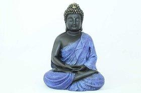Buddhism God Meditative Idol Statue Poly Resin Home Decorative Gift - Blue