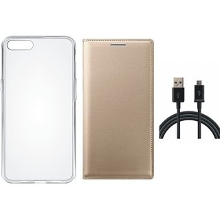 Oppo A83 Flip Cover with Silicon Back Cover, USB Cable by Vivacious ( Gold )