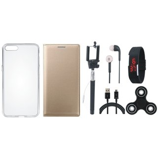 Oppo A83 Premium Leather Cover with Spinner, Silicon Back Cover, Selfie Stick, Digtal Watch, Earphones and USB Cable (Gold ) by Vivacious