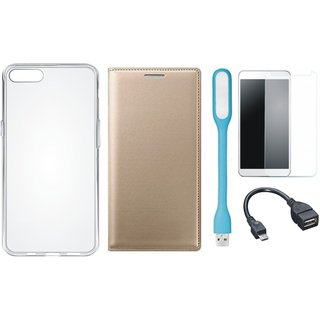 Redmi Note 5 Pro Premium Leather Cover with Silicon Back Cover, Tempered Glass, USB LED Light and OTG Cable by Vivacious ( Gold )