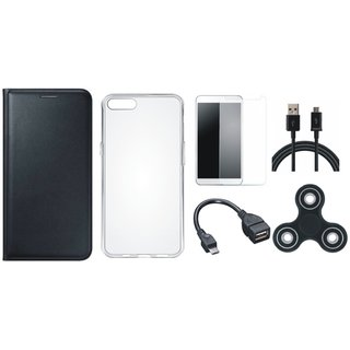 Oppo A83 Premium Leather Cover with Spinner, Silicon Back Cover, Tempered Glass, OTG Cable and USB Cable (Black) by Vivacious