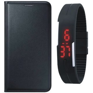 Oppo A83 Premium Leather Cover with Digital Watch by Vivacious ( Black )