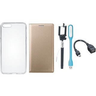Oppo A83 Flip Cover with Silicon Back Cover, Selfie Stick, LED Light and OTG Cable by Vivacious ( Gold )