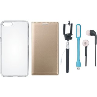 Oppo A83 Premium Leather Cover with Silicon Back Cover, Selfie Stick, Earphones and USB LED Light by Vivacious ( Gold )