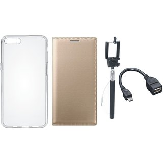 Redmi Note 5 Stylish Leather Cover with Silicon Back Cover, Selfie Stick and OTG Cable by Vivacious ( Gold )